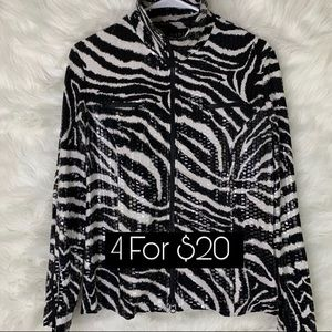 Nabi Animal Print Zebra Dress Jacket Large Black